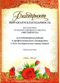 Благоданость коллективу реабилитационного центра Читый путь