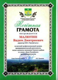Почетная грамота Малютину Вадиму Дмитриевиц за высокий профессиональный уровень