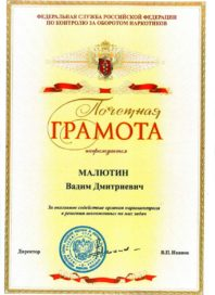Почетная грамота Малютину Вадиму
